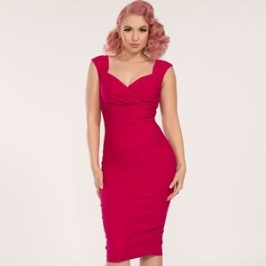 Pinup Couture Erin Wiggle Dress in Hot Pink